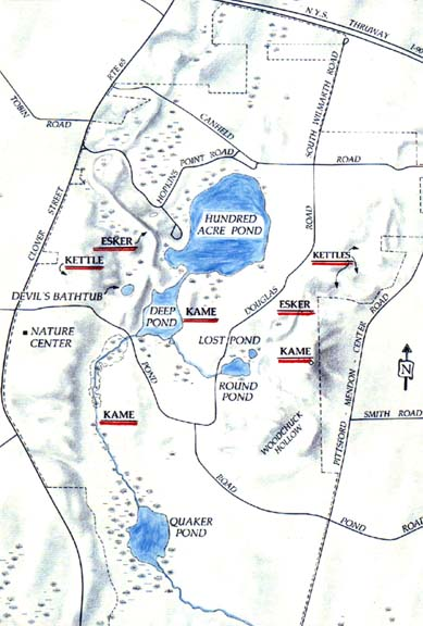 Map of glacial geology in Mendon Ponds Park.