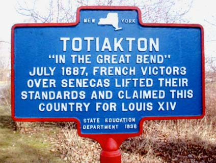 New York State Historical Marker  placed at the Totiakton site in 1936. Photo by John G. Sheret.
