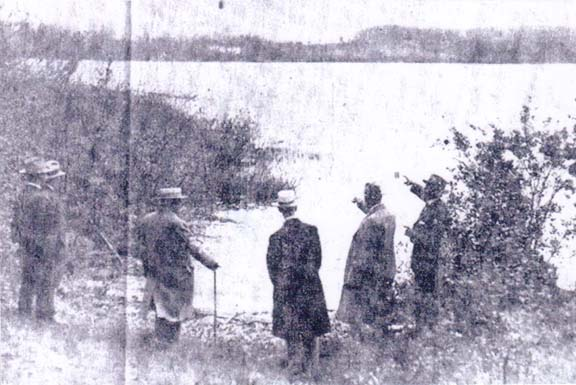 Monroe County Park Commissioners viewing 100 Acre Pond at the time of the         initial purchase of land for Mendon Ponds Park.